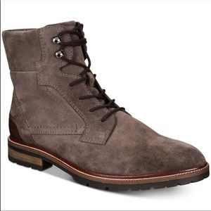 Bar III Whitaker Suede Boots Brown Lace Up Zipper